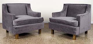 PAIR RESTORED UPHOLSTERED CLUB CHAIRS C.1950