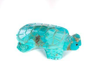Artist Signed DC Zuni Turqouise Turtle Effigy