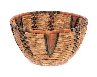 Large Hopi Colored Coiled Basket