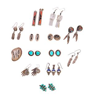 13 Pairs of Native American Silver and Turqoise Earrings and Pin