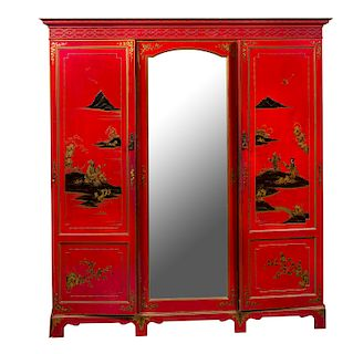 Antique Oriental Chinoisere Red Laquered Wardrobe