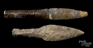 Two Danish Neolithic flint daggers