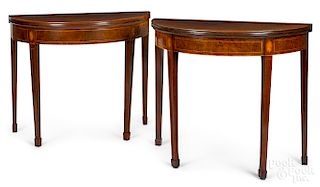Matched pair of Federal demilune card tables