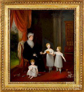 Oil on canvas interior scene