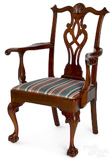 Pennsylvania Chippendale walnut armchair
