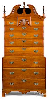 New England Chippendale walnut chest on chest