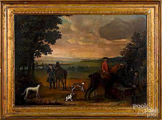 English school, oil on canvas hunting scene