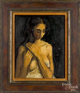Moses Soyer, oil of a girl combing her hair