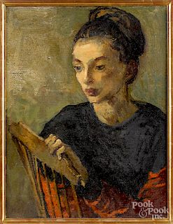 Moses Soyer, oil on canvas portrait