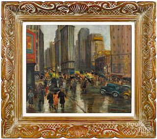 Fanny Holtzmann, oil titled Times Square New York