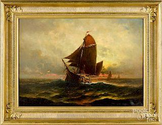 Theodore Valenkamph, oil on canvas sunset seascap