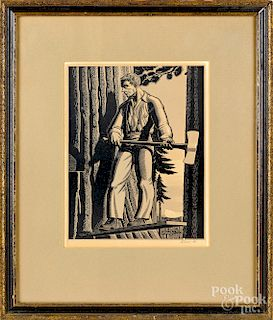 Rockwell Kent, signed wood engraving