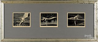 Rockwell Kent, three signed wood engravings