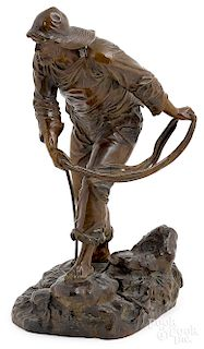 Edouard Lormier, bronze fisherman sculpture