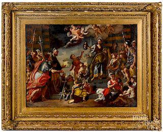 Continental oil on canvas allegorical scene