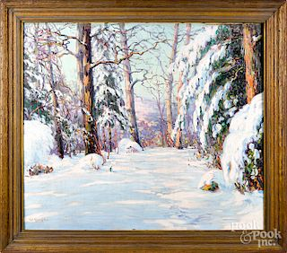 Walter Koeniger oil on canvas winter landscape