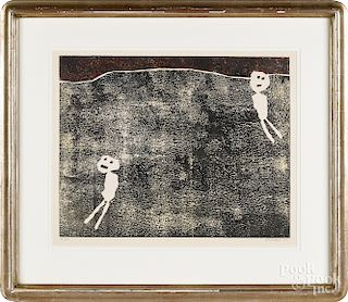 Jean Dubuffet, lithograph titled Loisirs