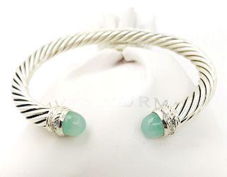David Yurman Aqua Chalcedony Diamond Crossover Bracelet