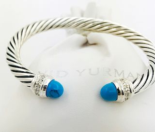 David Yurman Cable Bracelet with Turquoise and Diamond