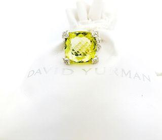 David Yurman Parsiolite Cushion Diamond Ring Sz 5.5