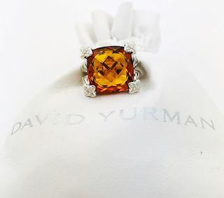 David Yurman Citrine  Cushion Diamond Ring  Sz 5.5