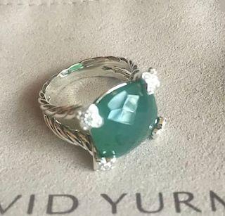 David Yurman Cushion Diamond Green Onyx Ring Sz 6