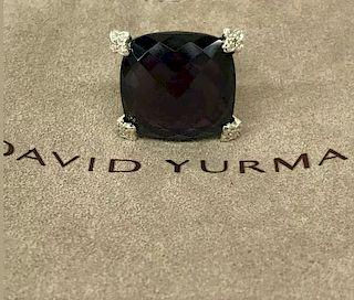 David Yurman Cushion Diamond Amethyst Ring  Sz 6
