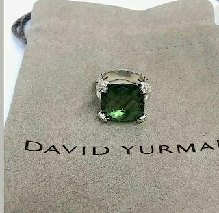 David Yurman Cushion Diamond Prasiolite Ring Sz 6
