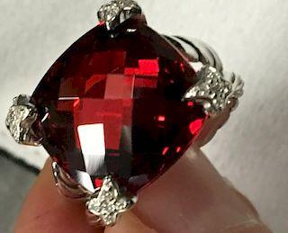 David Yurman Cushion Diamond Garnet Ring Sz 6