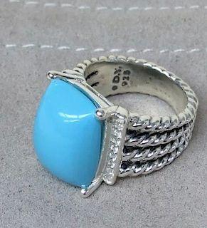 David Yurman Wheaton Turquoise Diamond Ring Sz 6