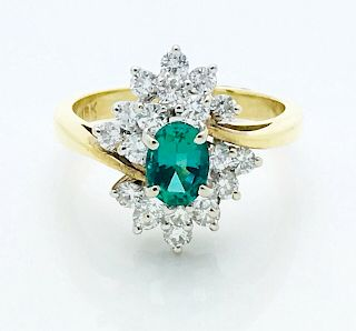 18k Gold 0.70ct Diamond & 0.70ct Emerald Ring Sz 6.25
