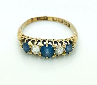 Antique L & L 18k Gold 1.00TCW Diamond Sapphire Ring