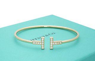 Tiffany and Co 18k Yellow Gold T Diamond Wire Bracelet