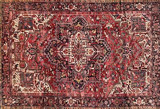 Hand Knotted Persian Heriz Carpet, circa 1940s