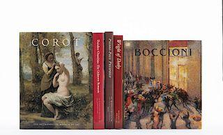 Libros sobre Théodore Chassériau, Corot, Wright of Derby, Pierre-Paul Prud'Hon y Umberto Boccioni... Piezas: 5.