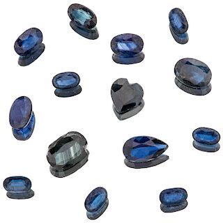 Fourteen loose sapphires.