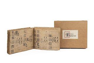 Códice Boturini. México, 1992. Facsimilar realizado a mano con materiales similares al original. Edición de 200 ejemplares. En estuche.