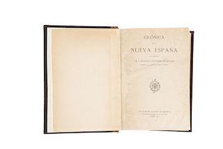 Cervantes de Salazar, Francisco. Crónica de la Nueva España. Madrid: The Hispanic Society of America, 1914.