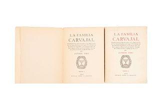 Toro, Alfonso. La Familia Carvajal. México: Editorial Patria, 1944. Primera edición. Pzs: 2.