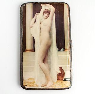 Silver & Enamel Erotic Nude Woman Cigarette Case