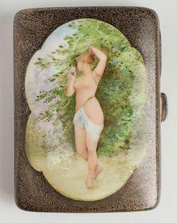 Silver & Enamel Erotic Woman Cigarette Case