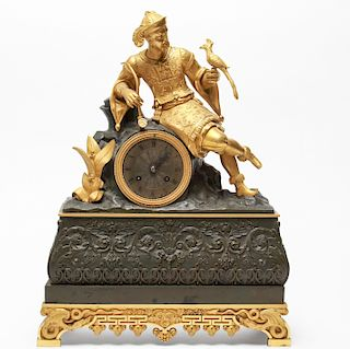 French Orientalist Gilt Bronze Mantel Clock C.1800