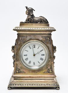 Egyptian Revival Silvered Bronze Mantel Clock