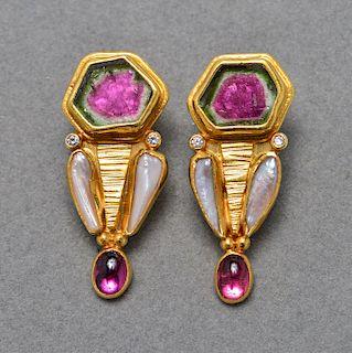 22K & 14K Gold Tourmaline Diamonds Pearl Earrings