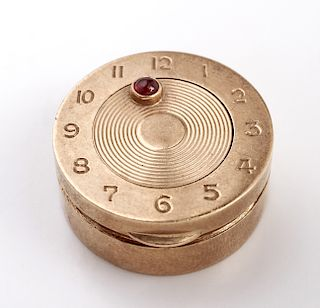 Cartier Attrib. 14K Yellow Gold & Ruby Pill Box