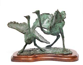 Terry Owen Mathews Two Ostriches Bronze Sculpture