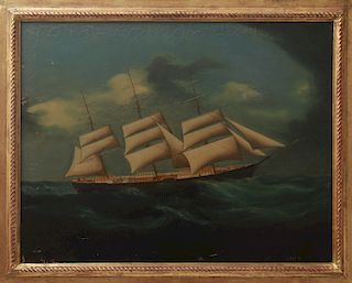 """""""Clipper Ship at Full Sail"""" Oil on Canvas, 19th C."""