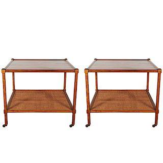 Baker Furniture Side Tables w Cane Shelf, Pr