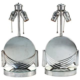 Art Deco Silver-Tone Mirrored Table Lamps, Pair