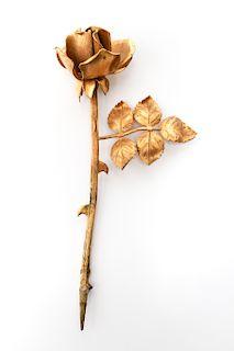 "Tiffany & Co. Gilt Silver ""Rose"" Flower Sculpture"